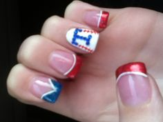 My Texas rangers nails(: