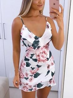 Floral Print Spaghetti Strap Ruffles Mini Dress dresses to wear to a wedding dresses short dress outfit dress dress dresses modest dresses Modest Dresses, Sexy Dresses, Cute Dresses, Dress Outfits, Casual Dresses, Short Dresses, Cute Outfits, Fashion Outfits, Womens Fashion