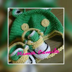 Conjunto para menino Sapinho de crochê