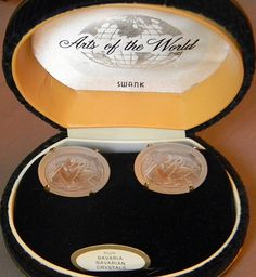 Vintage Swank Arts of the World Bavarian Crystal Leda and the Swan Cufflinks