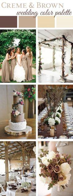 Creme & Brown Wedding Color Palette | LinenTablecloth Blog