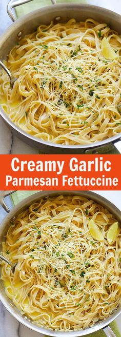 Creamy Garlic Parmesan Fettuccine – one-pot pasta with creamy garlic sauce and topped with Parmesan cheese. Dinner takes 20 mins | http://rasamalaysia.com