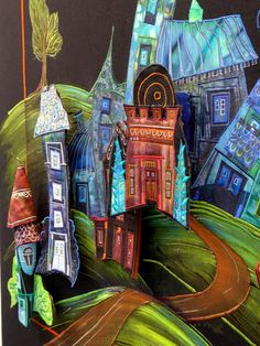 Olivia Uffer a une passion, les maisons, qui sont présentes dans toutes ses oeuvres. voir son site http://www.olivia-uffer.com