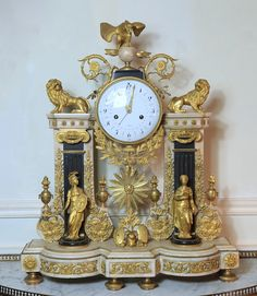 Minerva and Themis clock, 1780 - The same at the Musée des Arts Décoratifs Antique Pendulum Wall Clock, Antique Wall Clocks, Louis Xvi, Classic Clocks, Unusual Clocks, Wall Clock Online, Clocks For Sale, Mantel Clocks, Antique Watches