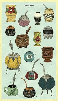 A species of the holly family, Yerba mate is more nutritious than green tea. Like green tea, it contains antioxidants, which helps with weight loss Argentina Food, Argentina Culture, Yerba Mate Tea, Gravure Illustration, My Cup Of Tea, Gourds, South America, Tea Cups, Pottery