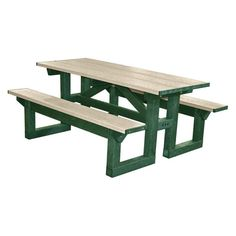 Outdoor Polly Products Tuff Step Thru Recycled Plastic Picnic Table Green Frame Sand Top - ASM-PTST8-GRN-SAND