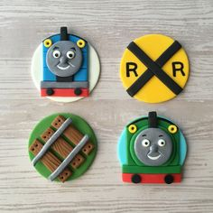 Thomas and Percy! Heres a cute set of Thomas the Train themed cupcake toppers: Thomas, Percy, Railroad Track, and Railroad Crossing Sign. PERFECT for birthday parties, play dates, reunions, and more! You can order the same style, or mix of match. Each order is for a dozen (12) toppers.