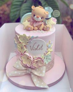 1st Birthday Cake For Girls, Baby Birthday Cakes, Beautiful Birthday Cakes, 1st Birthday Cake Designs, Rodjendanske Torte, Teddy Bear Cakes, Baby Girl Cakes, Baby Shower Cakes, Girl Shower Cake