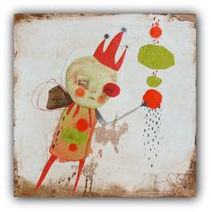 """Original Drawing, Mixed Media Collage with Simple Embroidery, Acrylic Painting by Christina Romeo """"Raider"""""""