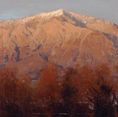Michael Workman, Mountain With Evening Light, oil, 11 x 11.