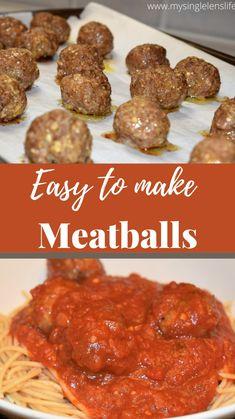 Meat Recipes, Crockpot Recipes, Cooking Recipes, Healthy Recipes, Homemade Meatball Recipes, Easy Homemade Meatballs, Easy Baked Meatballs, Ground Beef Meatballs, Healthy Meatballs