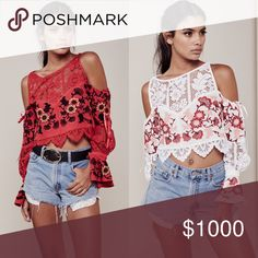 ISO!!! For Love & Lemons Cecelia top Either white or red in a size medium. If you'd like to sell me one or know where to get one below retail price please let me know! For Love and Lemons Tops Tees - Long Sleeve
