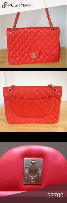 Red Chanel Purse Bold and beautiful red Chanel jumbo  in great condition. Only trading Premium at Hautetrader.com!! Chanel Bags Crossbody Bags