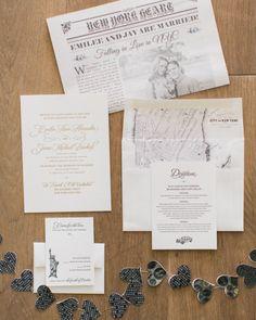 Wall Street Journal inspired invitations: http://www.stylemepretty.com/new-york-weddings/new-york-city/nyc-new-york-city/2015/03/31/elegant-new-york-city-wedding-at-morningside-castle/ | Photography: Mademoiselle Fiona - http://www.mademoisellefiona.com/