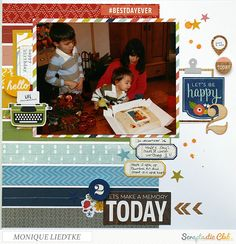 creating {non}sense: Scraptastic Club layout - Let's be Happy! Created using the April 2015 I Lived kit and add-on.  #scraptastic_kit_club #I_Lived #monique_liedtke
