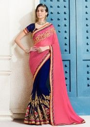 Party Wear Pink Chiffon Embroidered Work Saree
