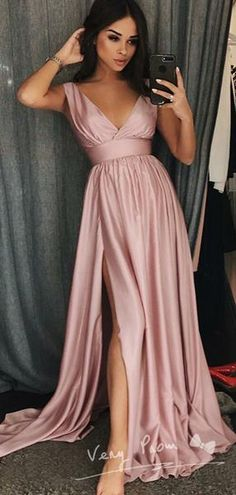 Prom Dress with Slit Evening Dress Winter Formal Dress Pageant Dance Dresses Graduation School Party Gown Prom Dresses For Teens, Cheap Evening Dresses, A Line Prom Dresses, Cheap Prom Dresses, Dance Dresses, Pink Dresses, Teen Dresses, Quinceanera Dresses, Bridesmaid Dresses