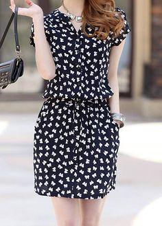 Single Breasted Casual V-Neck Bow Tie Pattern Short Sleeve Women's Dress - Dresses 👗 Women's Dresses, Spring Dresses, Fashion Dresses, Short Sleeve Dresses, Dresses With Sleeves, Short Sleeves, Flower Dresses, Cheap Dresses, Dresses Online