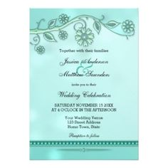 Wedding invitation with floral swirls in soft pastel mint with a teal/bokeh background in 5x7 size