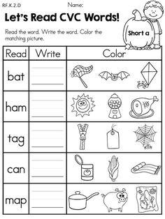 Let's Read CVC Words >> Part of the Autumn Kindergarten Language Arts Worksheets Packet
