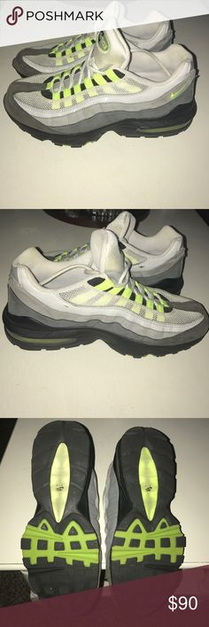 NIKE Airmax Men's '05 95 BLACK-VOLT-ANTHRACITE-GREY Nike 2005 Airmax 95 Grey/Black/Green.. Worn few times, two minor scuff marks you can see in photo 2* good condition! US size 6 Men's- Fits Women's size 7. No box**Sitting in my closet for years, they need a good home :) Nike Shoes Athletic Shoes
