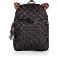 Accessorize Kitty Cat Quilted Backpack (1 025 ZAR) ❤ liked on Polyvore featuring bags, backpacks, handle bag, patterned backpacks, zipper bag, decorating bags and quilted backpack