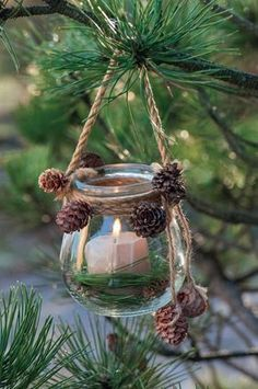 Christmas decorating ideas with cones- Beautiful Christmas decoration made of natural materials and glass Zero Waste Christmas Tree # - Christmas Pine Cones, Noel Christmas, Christmas Crafts, Christmas Ornaments, Christmas Candle, Pine Cone Christmas Decorations, Christmas Ideas, Christmas Garden, Winter Decorations
