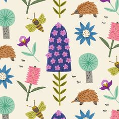 Surface Pattern Design, Textile Design, Folk Art, Print Patterns, Flora, Nature Illustrations, Textiles, Thoughts, Abstract