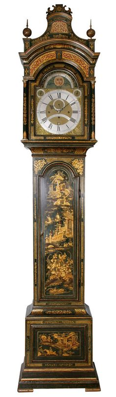 Antique Lacquered Longcase Clock by John Monkhouse, London