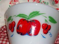 Vintage Fireking  Mixing Bowl Cherries Apples Vintage 10% off fallsale large 50s