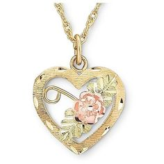 Black Hills Gold Jewelry by Coleman Heart Pendant Necklace ($112) ❤ liked on Polyvore featuring jewelry, necklaces, long gold necklace, rose gold jewelry, heart pendant necklace, yellow gold heart necklace and long necklaces