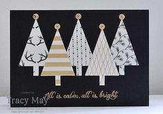 Stampin' Up! Winter Wonderland Desinger Vellum Tree Punch Gold Sequin Trim Tracy May Christmas Card Crafts, Christmas Cards To Make, Xmas Cards, Christmas Projects, Holiday Cards, Advent, Embossed Cards, Winter Cards, Greeting Cards Handmade