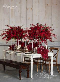 Marsala: 2015 Pantone Color of the Year - Wedding Decorations - Centerpieces, elegant rustic wedding reception table, fall wedding ideas