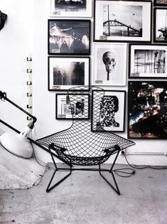 Black and white styling.  Frames and chair are gorgeous. #styling #home #blackwhite