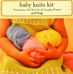 Learn to  Knit with this great Baby Knits Kit Instructions and Tools for  20 Projects Designed by Alethea Morrison New in Package Collectible from 2007 This is a wonderful box of knitting projects for baby! The kit includes: circular needles, 20 patterns on  tote able cards, enough yellow yarn to complete one small project. Illustrated book of instructions. Projects include: booties, sweater, vest, toddler pants,  diaper bag, baby kimono, hats, blanket, elephant, bunting, toddler dress.