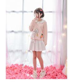 314fc36660 Mori Girl 2016 Autumn New Women Original Fashion Cute Sweatshirts Print  Cartoon Turn down Collar Casual Long Sleeve Sweatshirts-in Hoodies    Sweatshirts ...