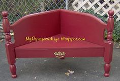 another headboard bench - corner this time. My Re-Purposed Life has tons of great stuff!
