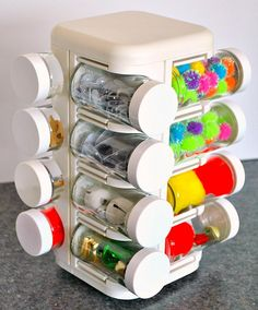 Craft storage, upcycle a spice rack