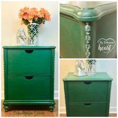 Annie Sloan Chalk Paint in Amsterdam Green with Cire silver gilding and clear wax with a little dusting of SIFF antiquing powder to create an aged effect with this lovely cabinet.