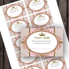 Princess baby shower diaper raffle tickets, pink and gold, royal baby shower Baby Shower Princess, Baby Princess, Royal Princess, Princess Party, Baby Shower Diapers, Baby Shower Games, Shower Baby, Gold Shower, Royal Baby Showers