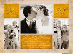 Multi-Photo Collage Anniversary Invitation (gold 50th anniversary idea)