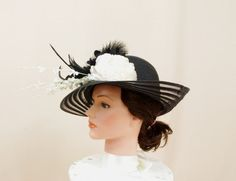 86cc8d6f6c2 White and Black Hat   Kentucky Derby Hat   Church Hat   Black Floppy Hat   Wide  Brim Hat   Formal Hat   Floral Hat   Fashion Hat   Ascot Hat