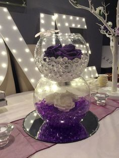 Double Fish bowl wedding centrepiece for purple themed weddings. Alternating clear and purple beads Ivory roses and cadburys purple roses. & CENTERPIECES FISH BOWLS | triple fish bowl centerpieces these triple ...