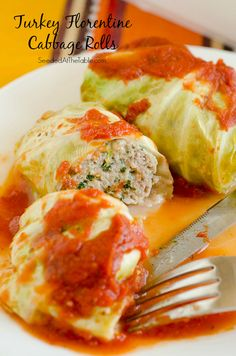 Turkey Florentine Stuffed Cabbage Rolls: These lean stuffed cabbage rolls are filled with Italian flavored ground turkey, spinach and cheese, then topped with a tomato-y marinara!
