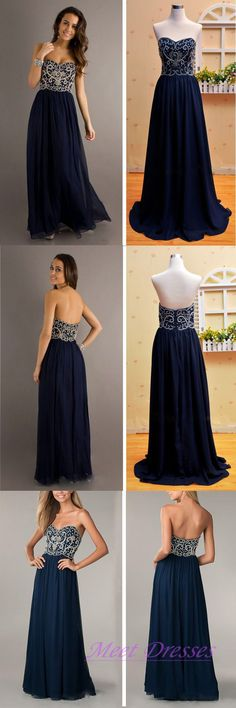 Navy Blue Prom Dresses New Style Beaded Bodice Sweetheart Neckline Chiffon Long…