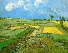 Champs de blé à Auvers sous un ciel nuageux, huile sur toile de Vincent Van Gogh (1853-1890, Netherlands)