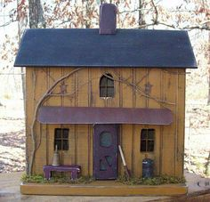 Primitive Lighted Farmhouse Folk Art w/ Beautiful Worn Mustard w/ worn black roof ~ Comes w/ light and cord ~ Very unique!