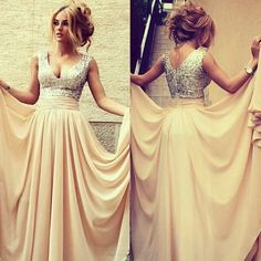$159 27dress.com custom made 2014 New Arrival Elegant Womens Evening Party Gowns V Neck Nude Chiffon Sequined Top Prom Dresses Long