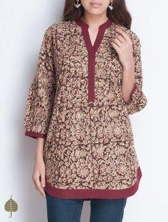 Maroon-Beige Natural Dye Kalamkari Printed Pleated Neck Handloom Cotton Top by Jaypore