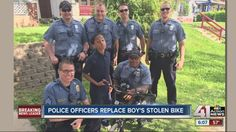 KCPD officers replace young boy's stolen bike - YouTube